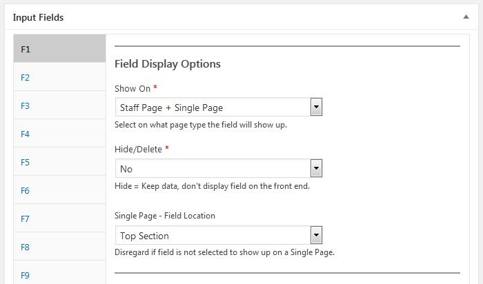 Staff List, staff template, field display options