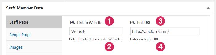 WordPress plugin Staff List, field type Hyperlink, data entry screen