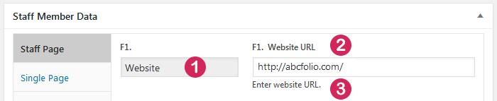 WordPress plugin Staff List, field type Hyperlink with Static Tex, data entry screen