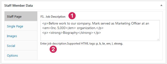 WordPress plugin Staff List, field type  Paragraph Text, data entry screen