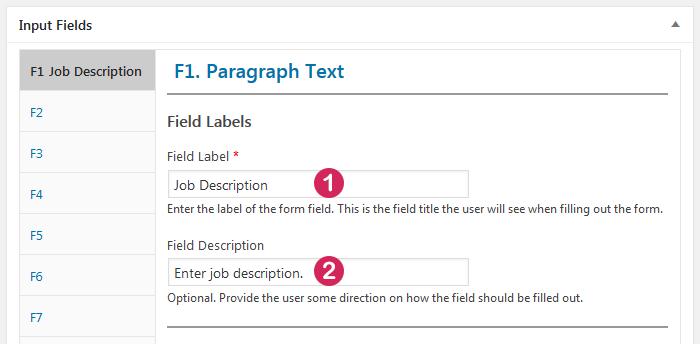 Plugin Staff List, staff template, input field Paragraph Text, label options