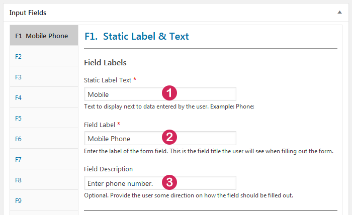 Plugin Staff List, input field type Static Label and Text, static and other labels