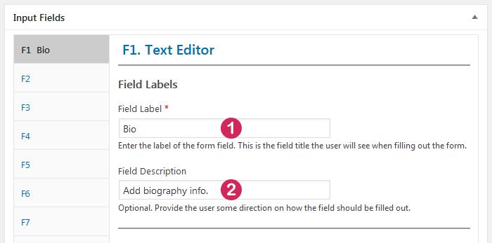 Plugin Staff List, staff template, input field type Text Editor, labels
