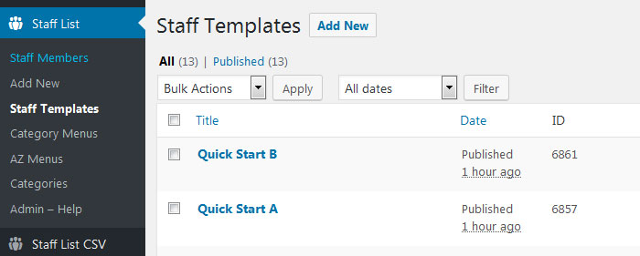 preview quick start template