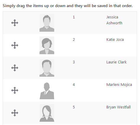 Staff page sort option, manual sorting example