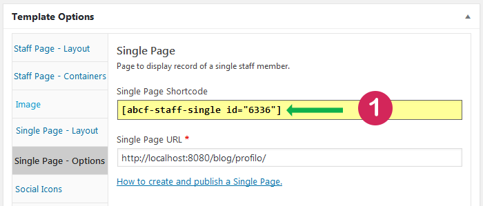 Staff List template. Location od single page shortcode.