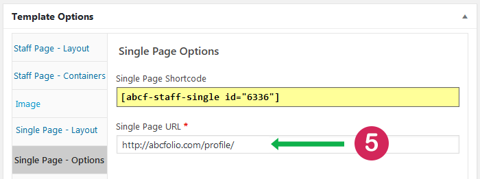 How to add Staff List single page page URL to staff template