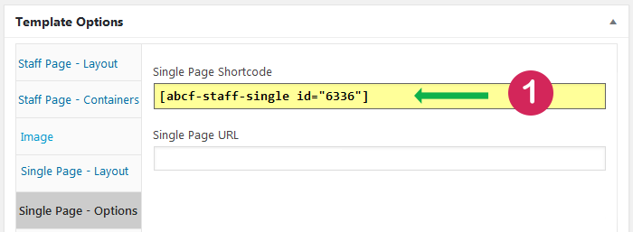 Staff List plugin. Create and publish single page. Step 1 copy shortcode.