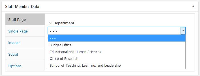 WordPress plugin Staff List, field type drop-down, data entry screen