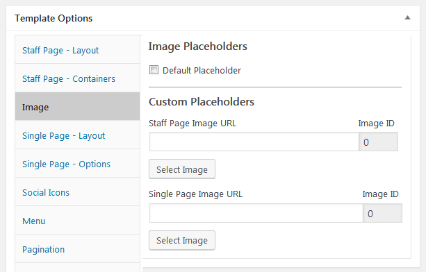 staff list template, image placeholders options screen