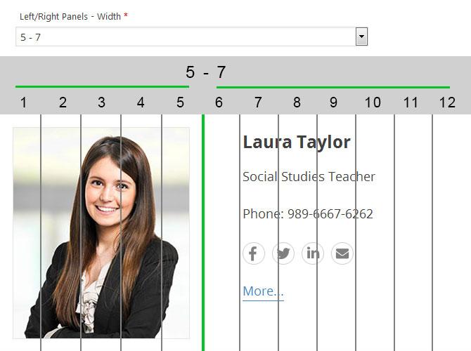 WordPress plugin Staff List, List layout, item container columns