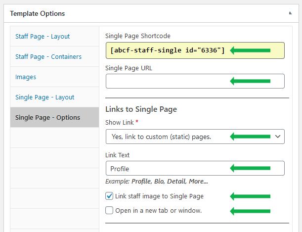 WordPress plugin Staff List. Single Page options, links to custom pages.