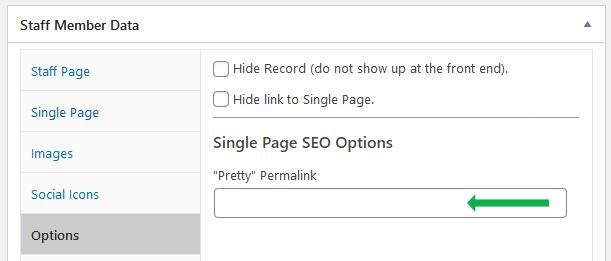 WordPress plugin Staff List. Staff member SEO options. Empty pretty permalink field.