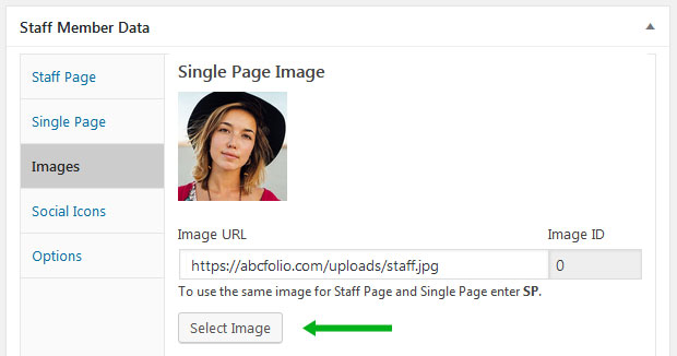 How to select an image of single staff member