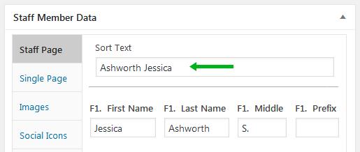Staff page sort text field