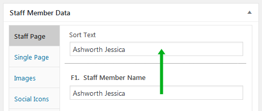 Staff List, sort field copy from single line text data entry example