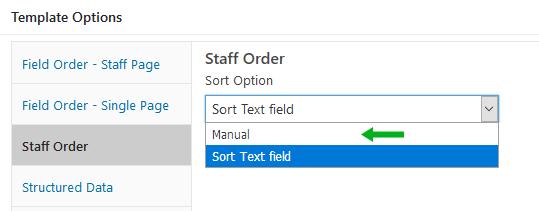 Staff page sort option, manual