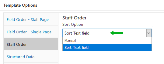 Staff page sort option, Sort Text field