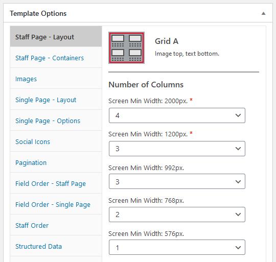 WordPress plugin Staff List, Grid A layout options