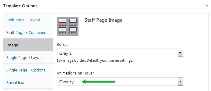 WordPress plugin Staff List, screen of image overlay options
