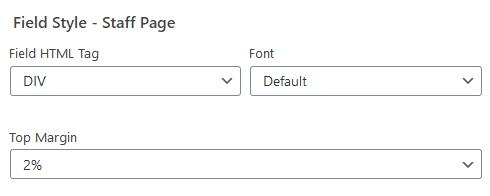 wordpress plugin staff list field style options